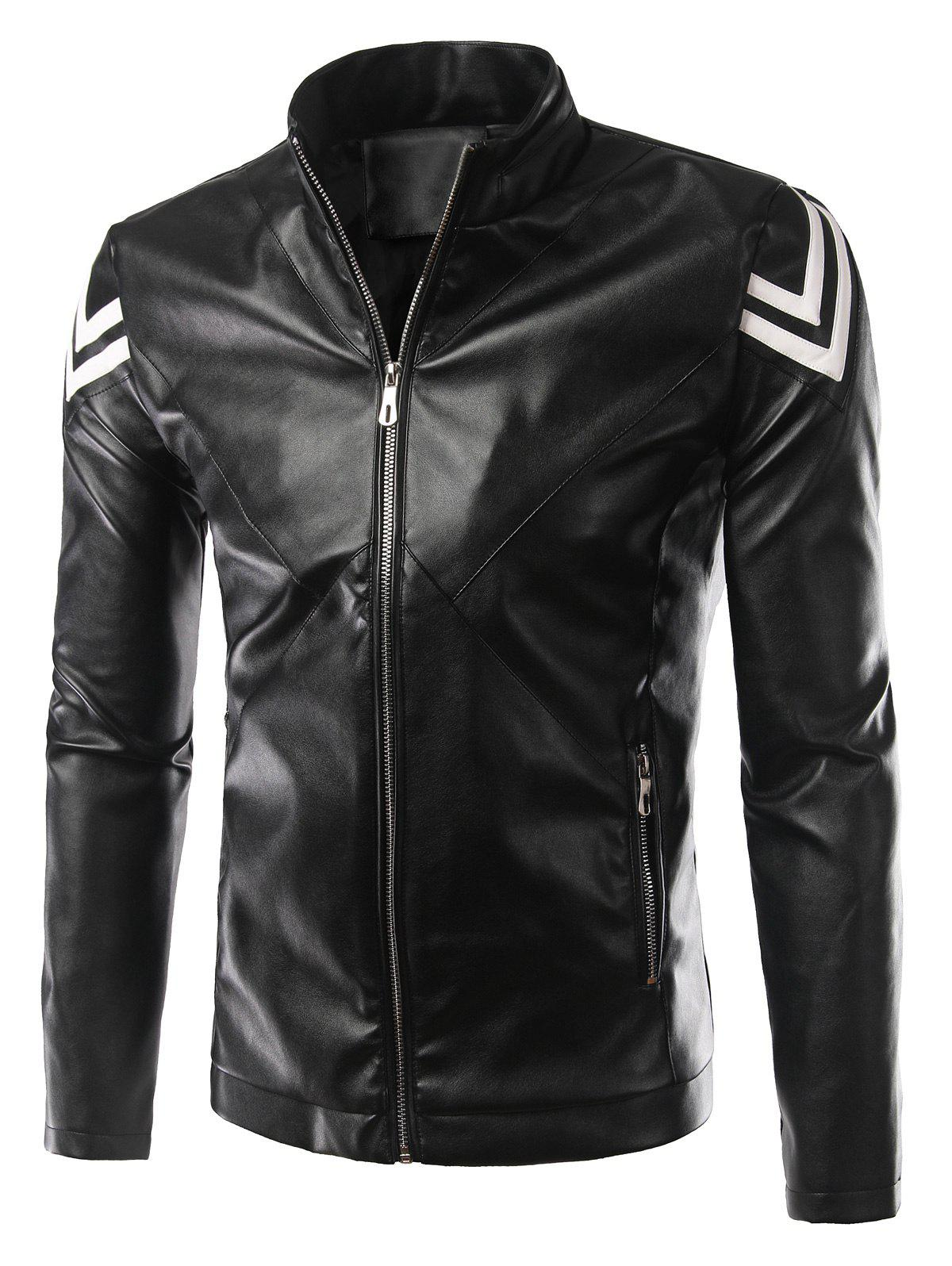 Selvedge Embellished Plus Size Stand Collar Long Sleeve PU-Leather Men's Jacket 190450616