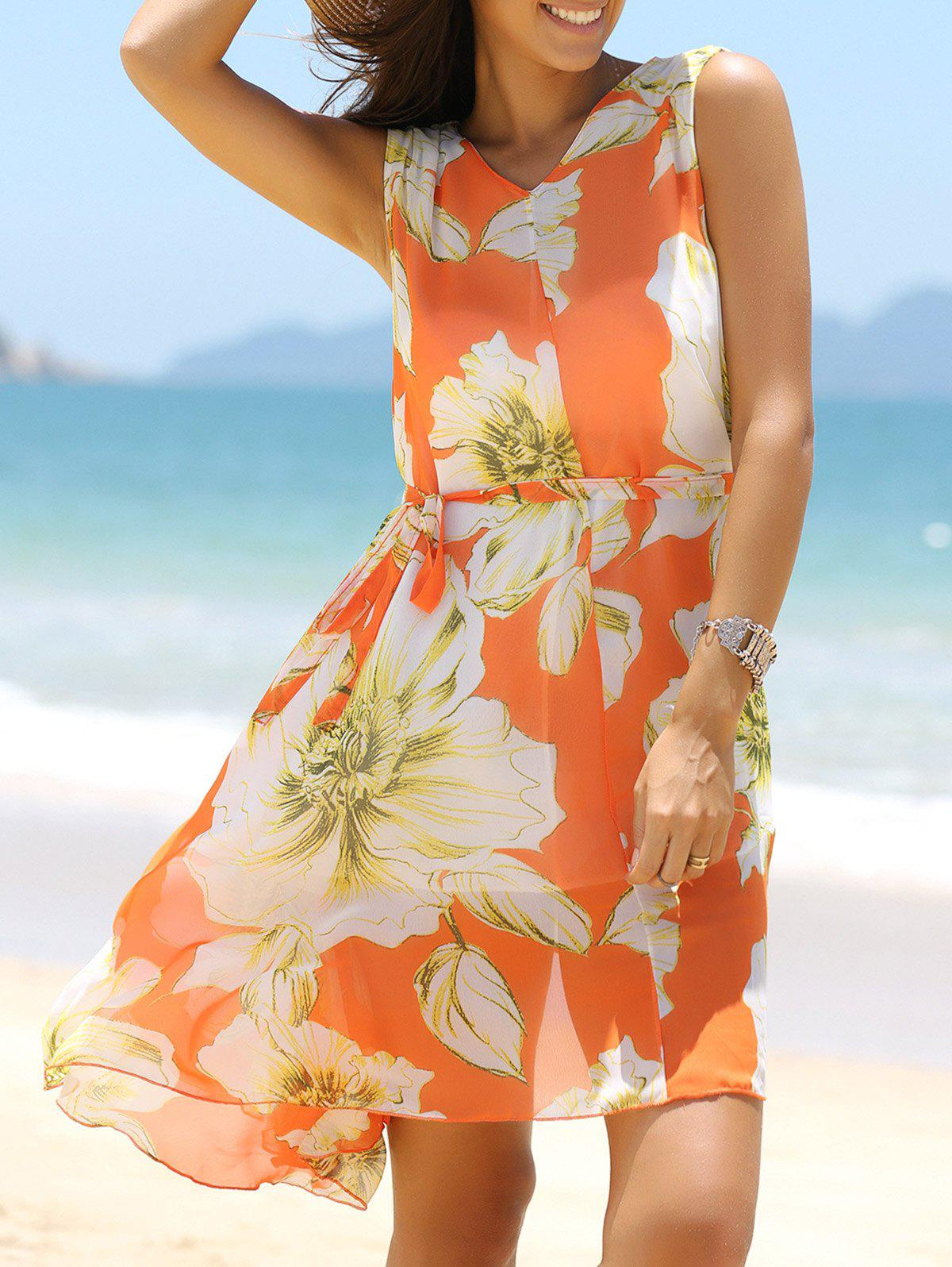 Floral Chiffon A Line Swing Beach Dress - ORANGE M