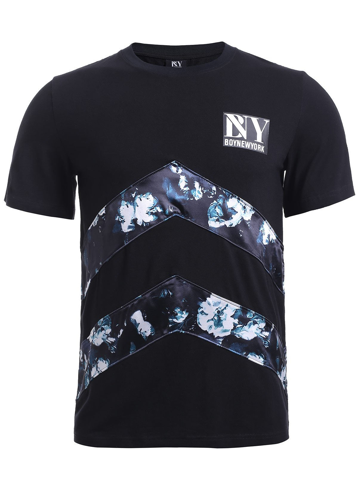 BoyNewYork Floral Applique Spliced T-Shirt - BLACK XL