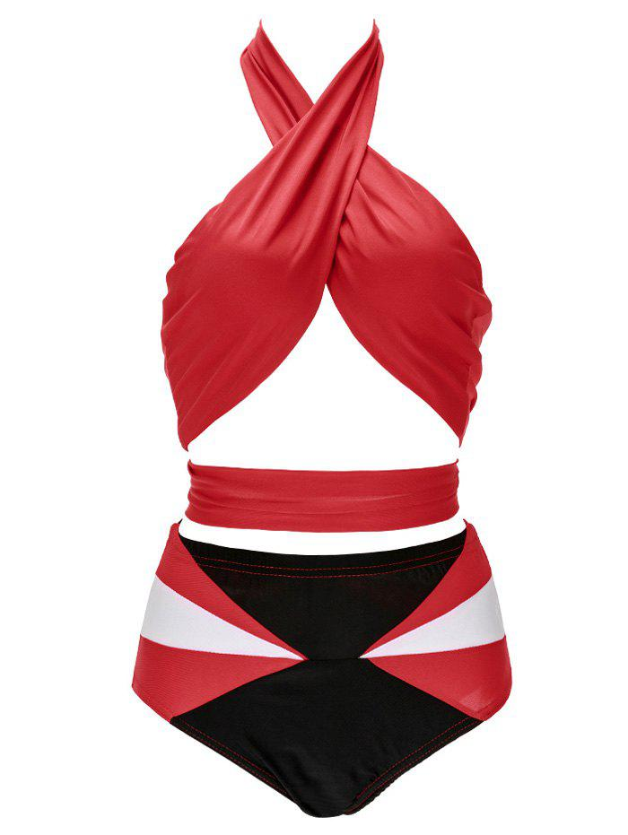Backless Hit Color Bikini - RED/WHITE XL