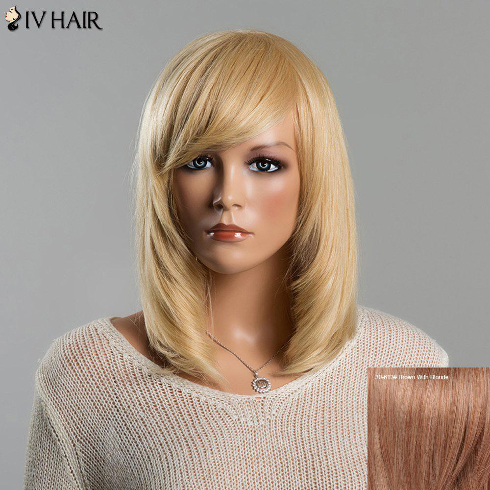 Stunning Women's Medium Straight Adduction Side Bang Siv Human Hair Wig - BROWN/BLONDE