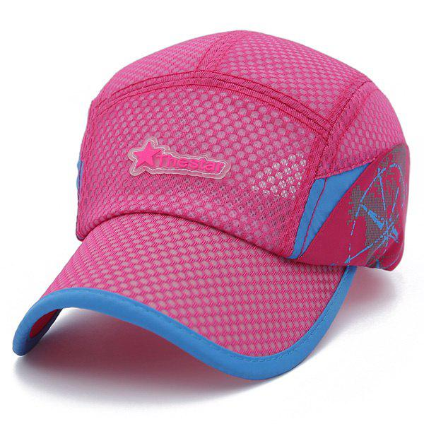 Fashion Star Lettre caoutchouc respirante Sport Baseball Hat - Rose