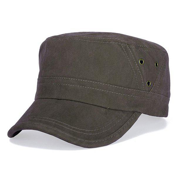 Stylish Hollow Hole Embellished Flat Top Men's Military Hat - COFFEE