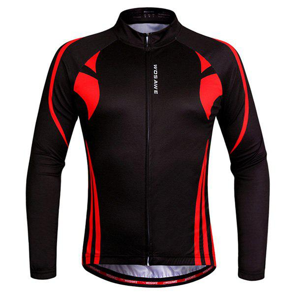 Hot Sale Breathable Zipper Long Sleeve Cycling Jersey For Unisex - BLACK L