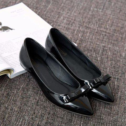 Ladylike Patent Leather and Bow Design Women's Flat Shoes - BLACK 38