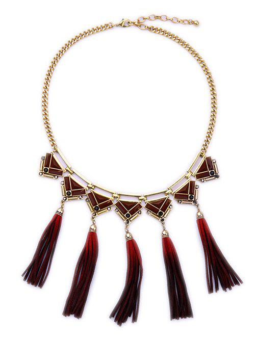 Statement Gradient Tassel Necklace -  DEEP RED
