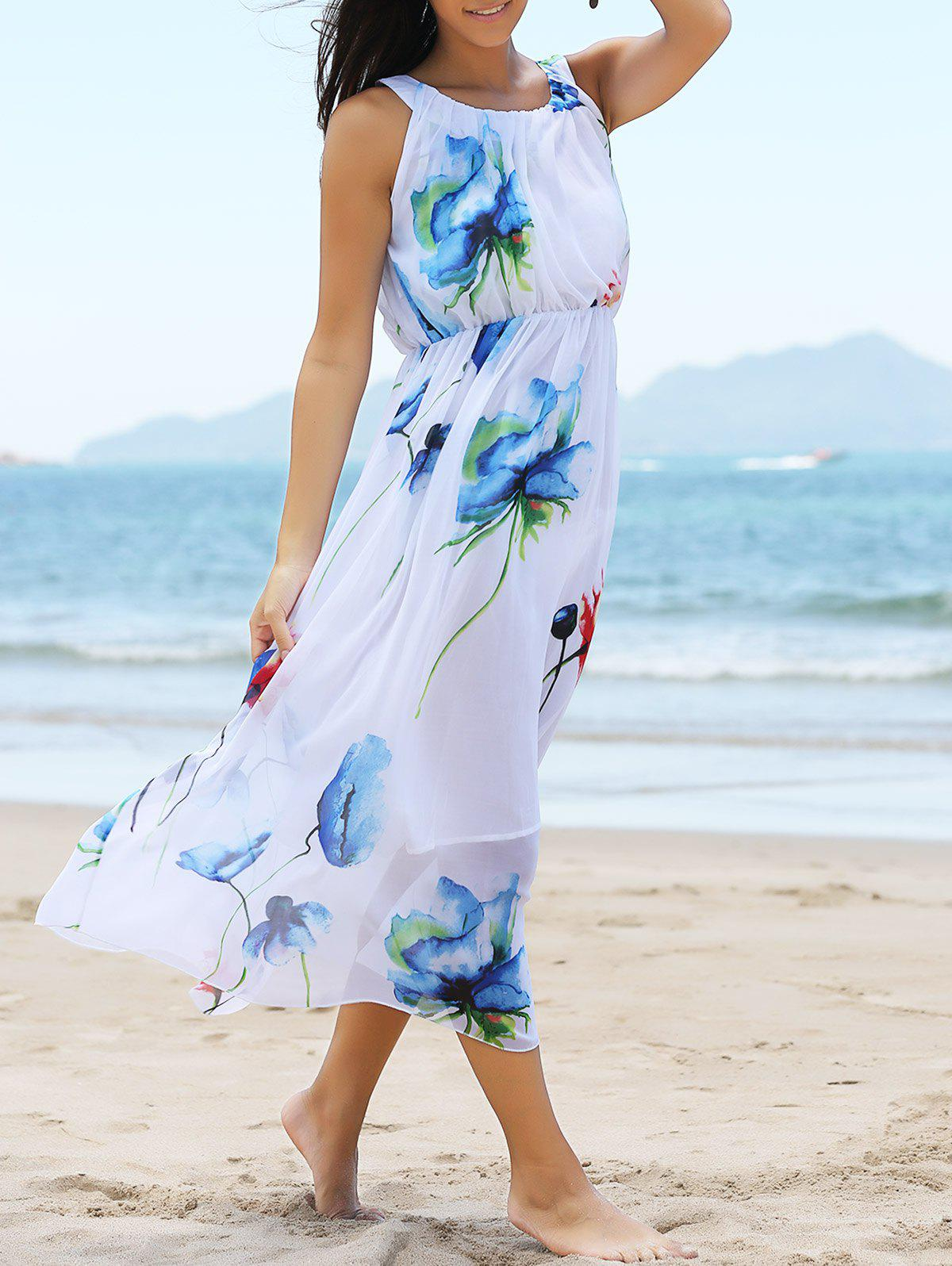 Flowing Floral Pattern High-Waist Dress - WHITE L