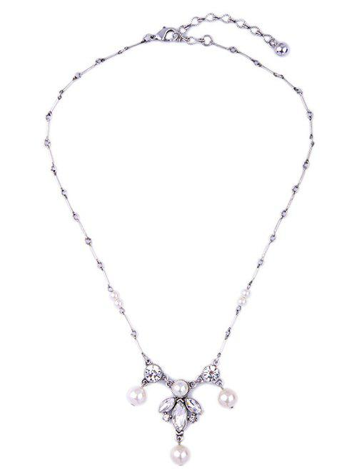 Faux Pearl Leaf Rhinestone Necklace - SILVER