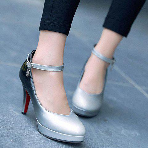 Trendy Ankle Strap and Gradient Color Design Women's Pumps - BLACK 39