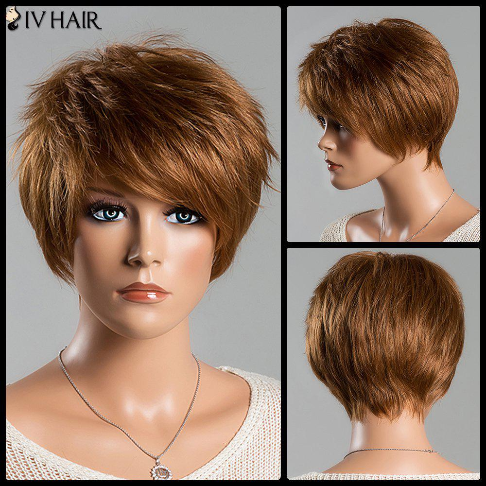 Fashion Women's Short Fluffy Side Bang Auburn Brown Siv Human Hair Wig - AUBURN BROWN