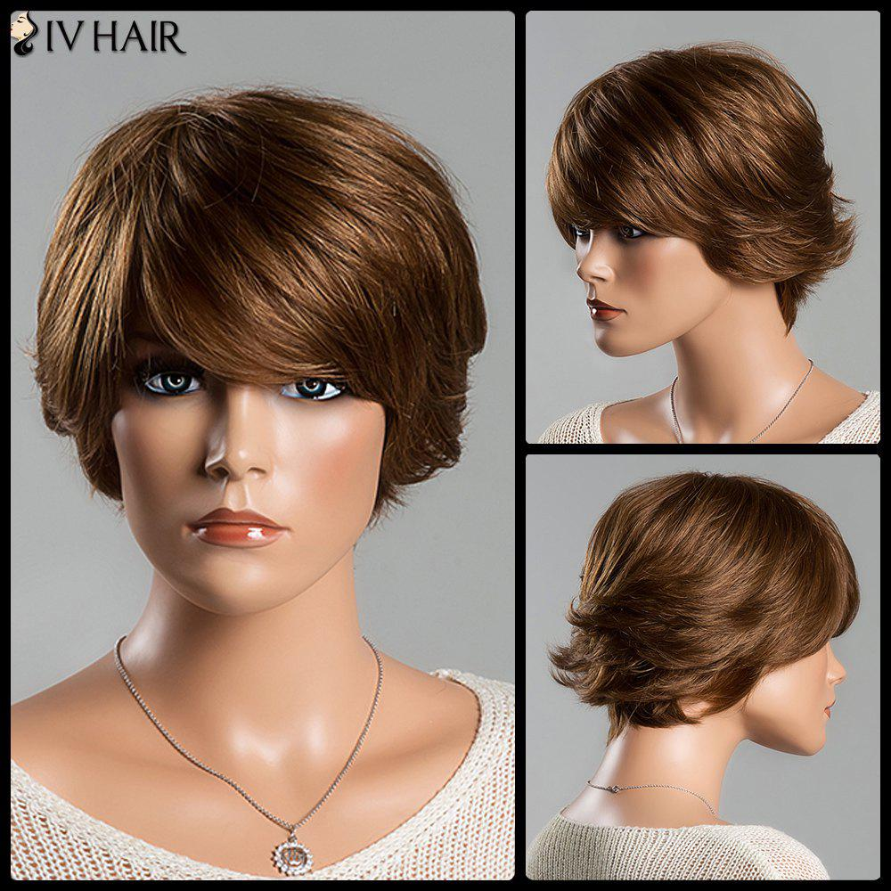 Women's Fashion Short Fluffy Side Bang Siv Human Hair Wig - AUBURN /