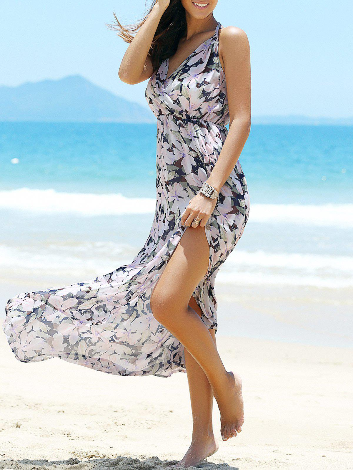 High-Slit Floral Pattern Backless Swing Dress