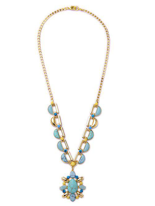 Faux Turquoise Teardrop Pendant Necklace - TURQUOISE