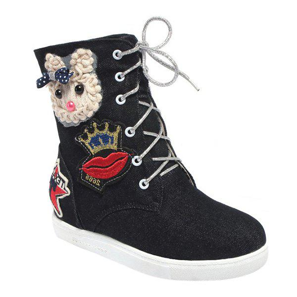 Fashion Lace-Up and Appliques Design Women's Short Boots