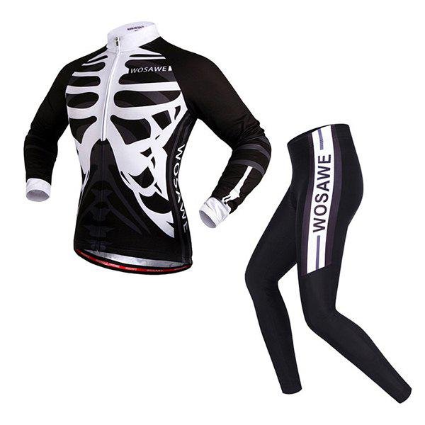Chic Quality Spring Autumn Sportwear Long Sleeve Cycling Set For Unisex - WHITE/BLACK 2XL