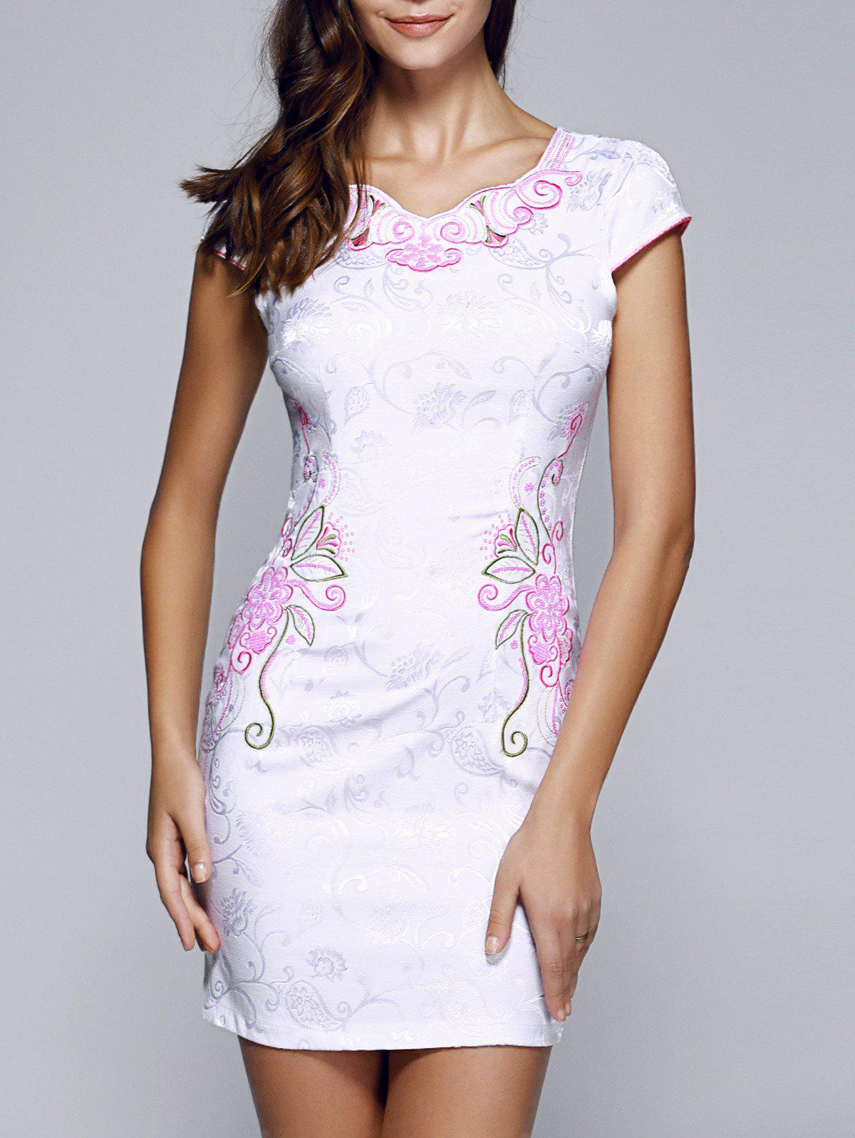 Elegant Jacquard Flower Embroidered Scalloped Cheongsam - PINK 2XL