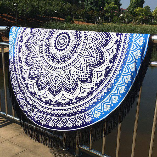 Cool Summer Mandala Lotus Pattern Tassel Yoga Mat Gypsy Cotton Tablecloth Round Beach Throw - BLUE