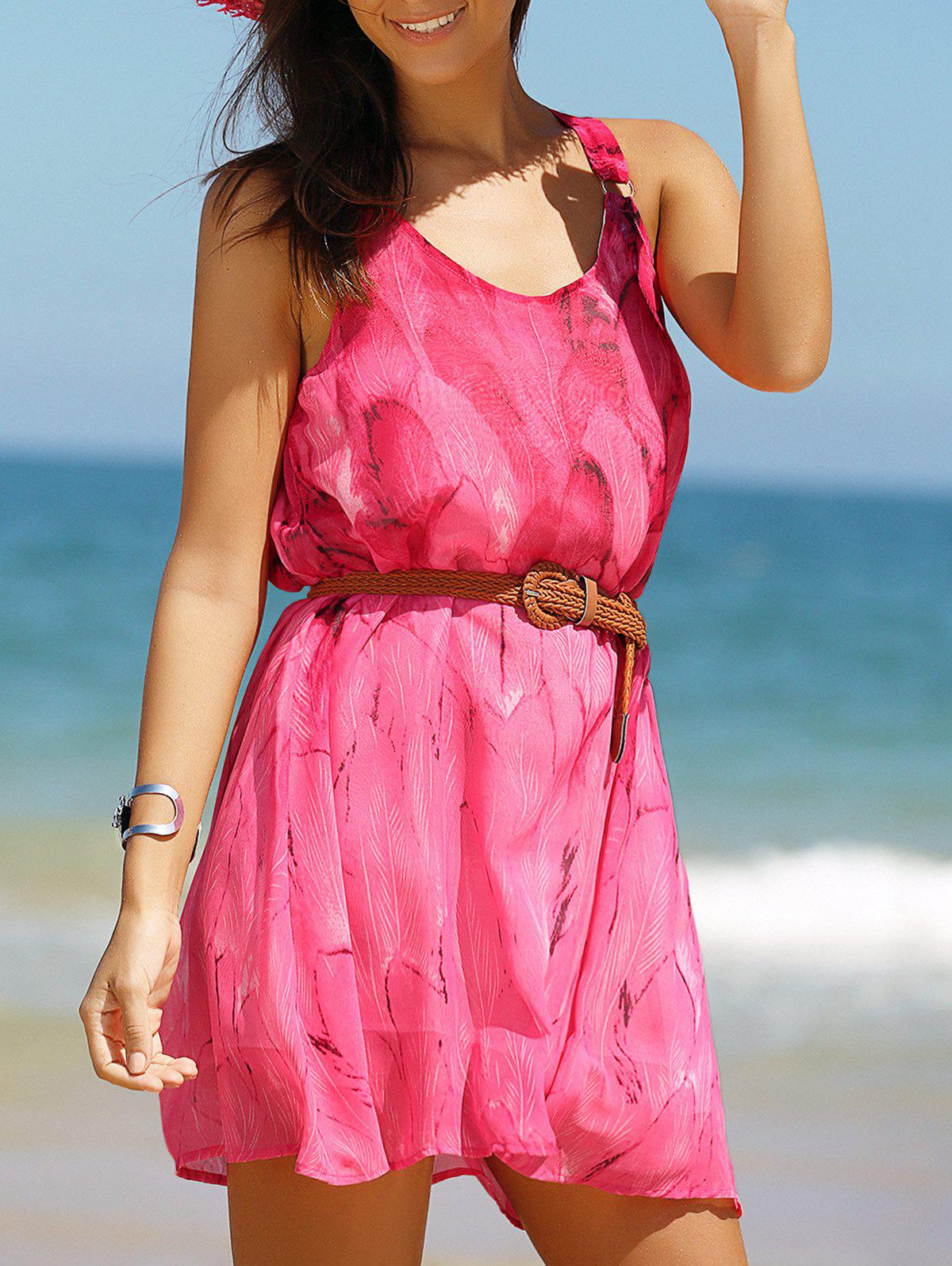 Cool and Fresh Tie Belt Print Dress - ROSE RED L