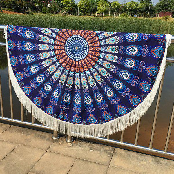 Cool Summer Mandala Printed Tassel Yoga Mat Gypsy Cotton Tablecloth Round Beach ThrowAccessories<br><br><br>Color: DEEP BLUE