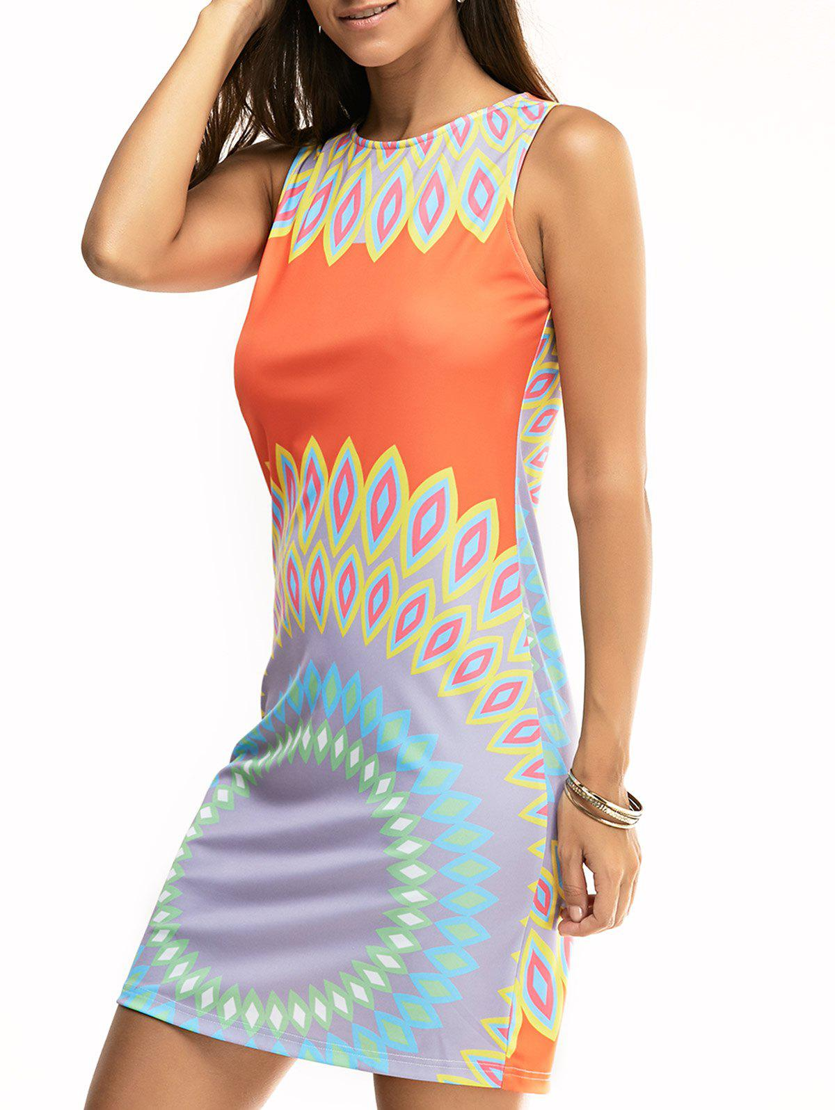 Ethnic Sleeveless Printed Slimming Dress - COLORMIX XL
