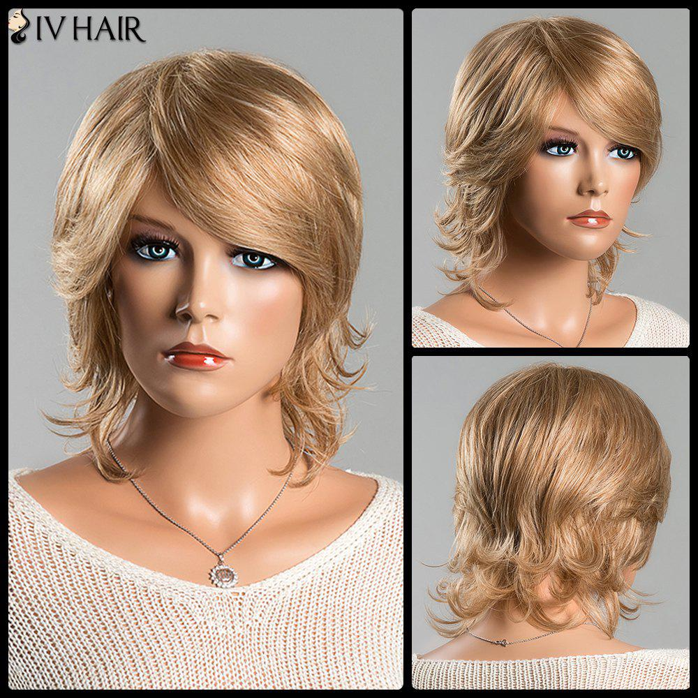 Women's Fashion Short Fluffy Side Bang Tail Upwards Siv Human Hair Wig - BROWN/BLONDE