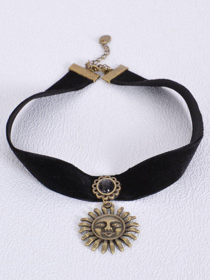 Vintage Sun Necklace - BLACK