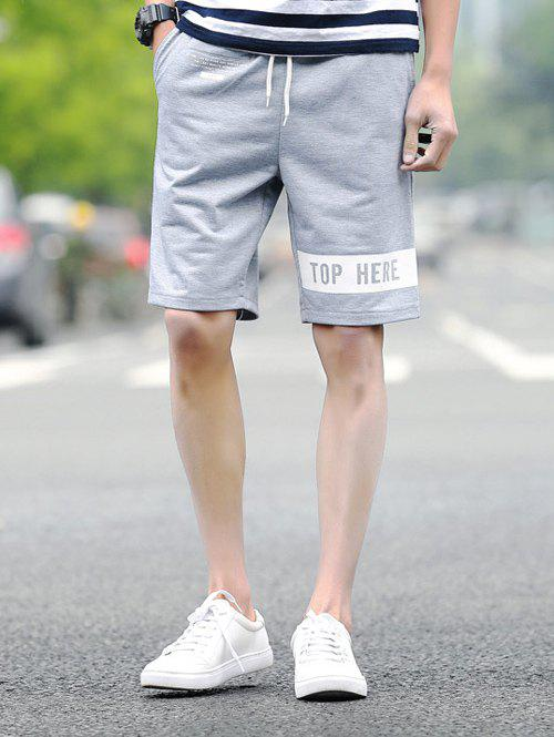 Letters Printed Lace-Up Straight Leg Sport Men's Shorts - LIGHT GRAY L