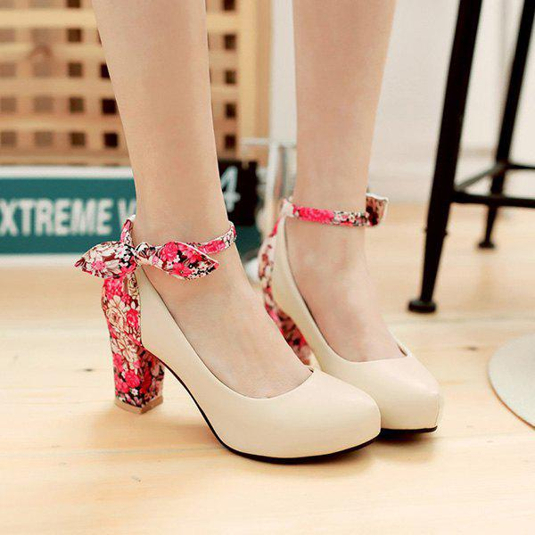 Stylish Splicing and Floral Print Design Women's Pumps - OFF WHITE 37