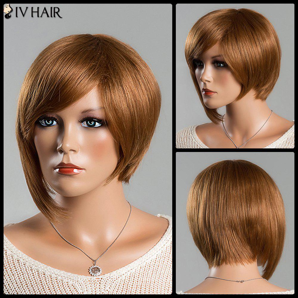 Women's Short Refreshing Side Bang Siv Human Hair Wig - AUBURN BROWN