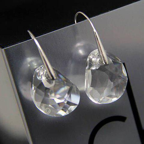 Faux Crystal Geometric Drop Earrings - WHITE