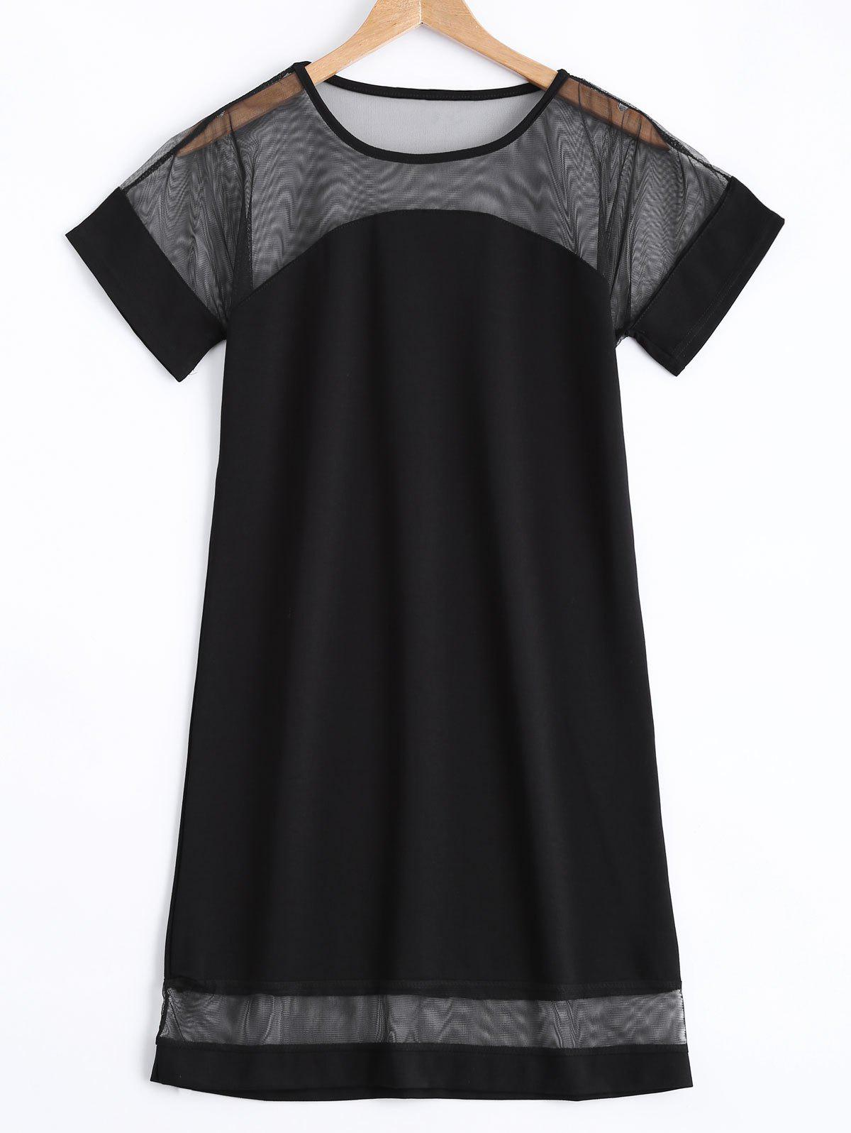 Stylish Short Sleeve Spliced Hollow Out Black Shift Dress - BLACK ONE SIZE