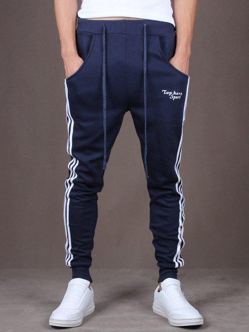 Side Stripe Design Lace-Up Beam Feet Embroidery Men's Jogger Pants - CADETBLUE L
