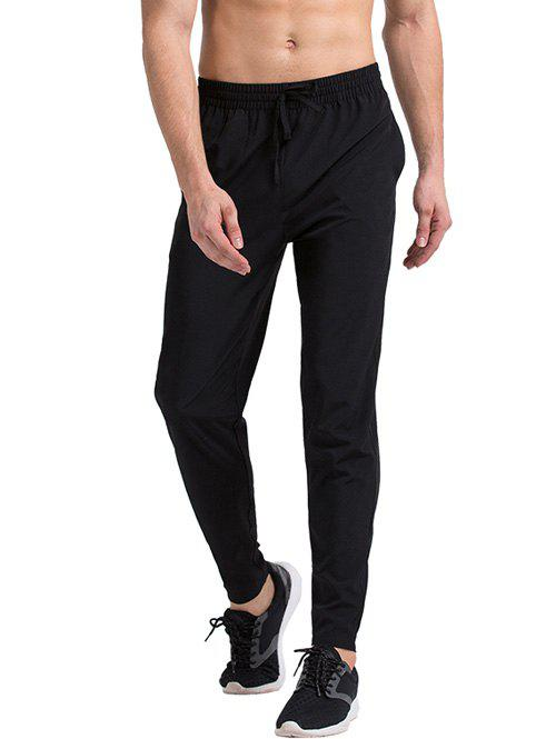 Solid Color Slimming Lace-Up Narrow Feet Quick-Dry Men's Running Pants - BLACK M