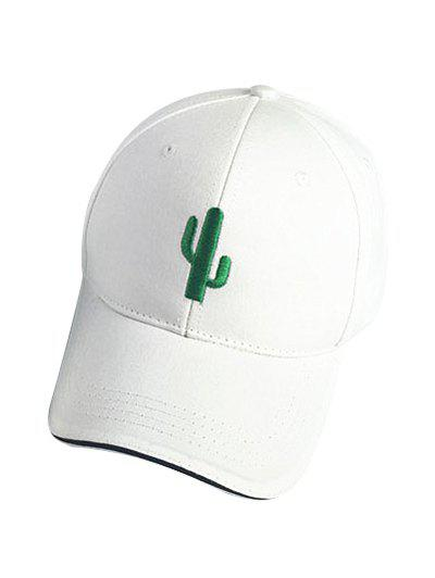 Chic Cactus White Baseball Cap For Women - WHITE