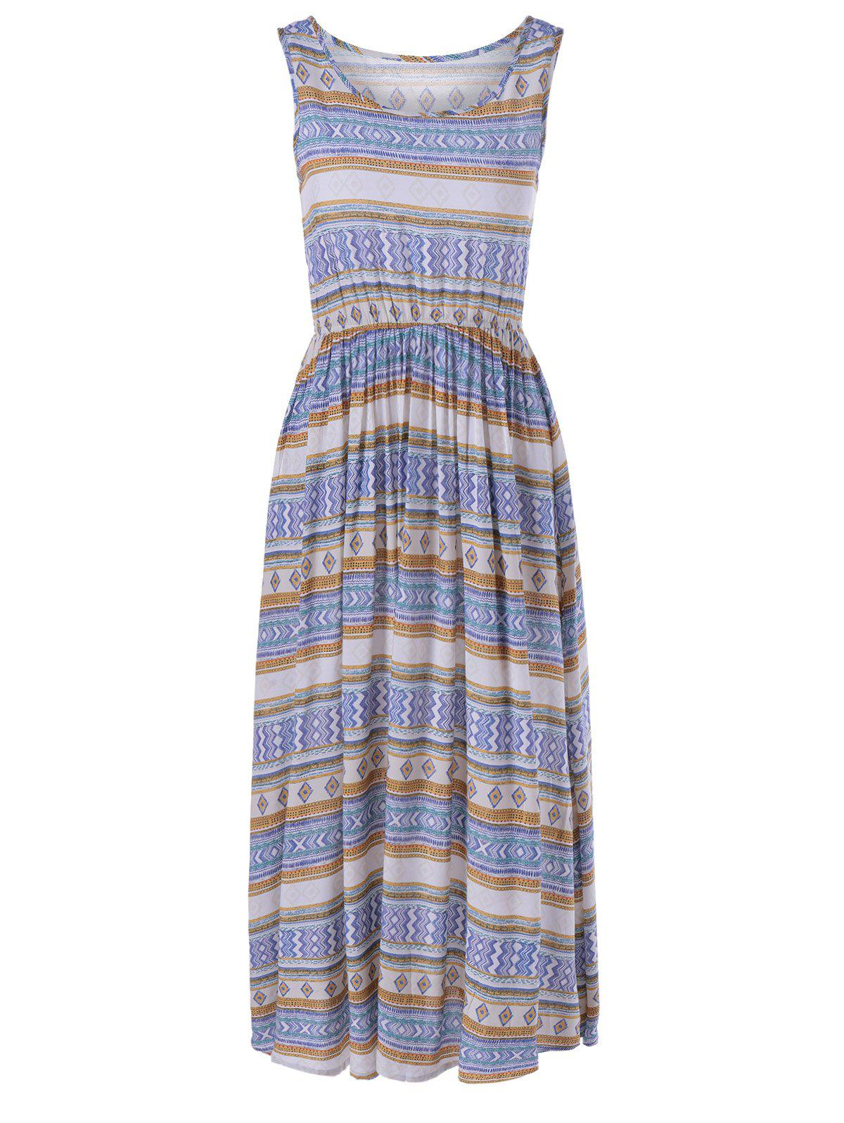 Bohemian Scoop Neck Elastic Waisted Trible Print Sleeveless Beach Dress For Women - ORANGE YELLOW ONE SIZE(FIT SIZE XS TO M)