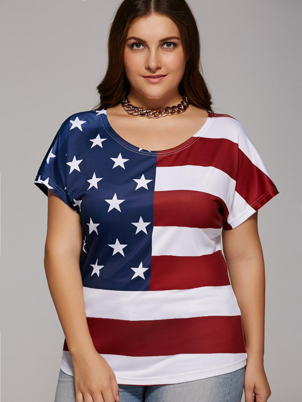 Plus Size Scoop Neck American Flag T-Shirt - RED/WHITE/BLUE 5XL