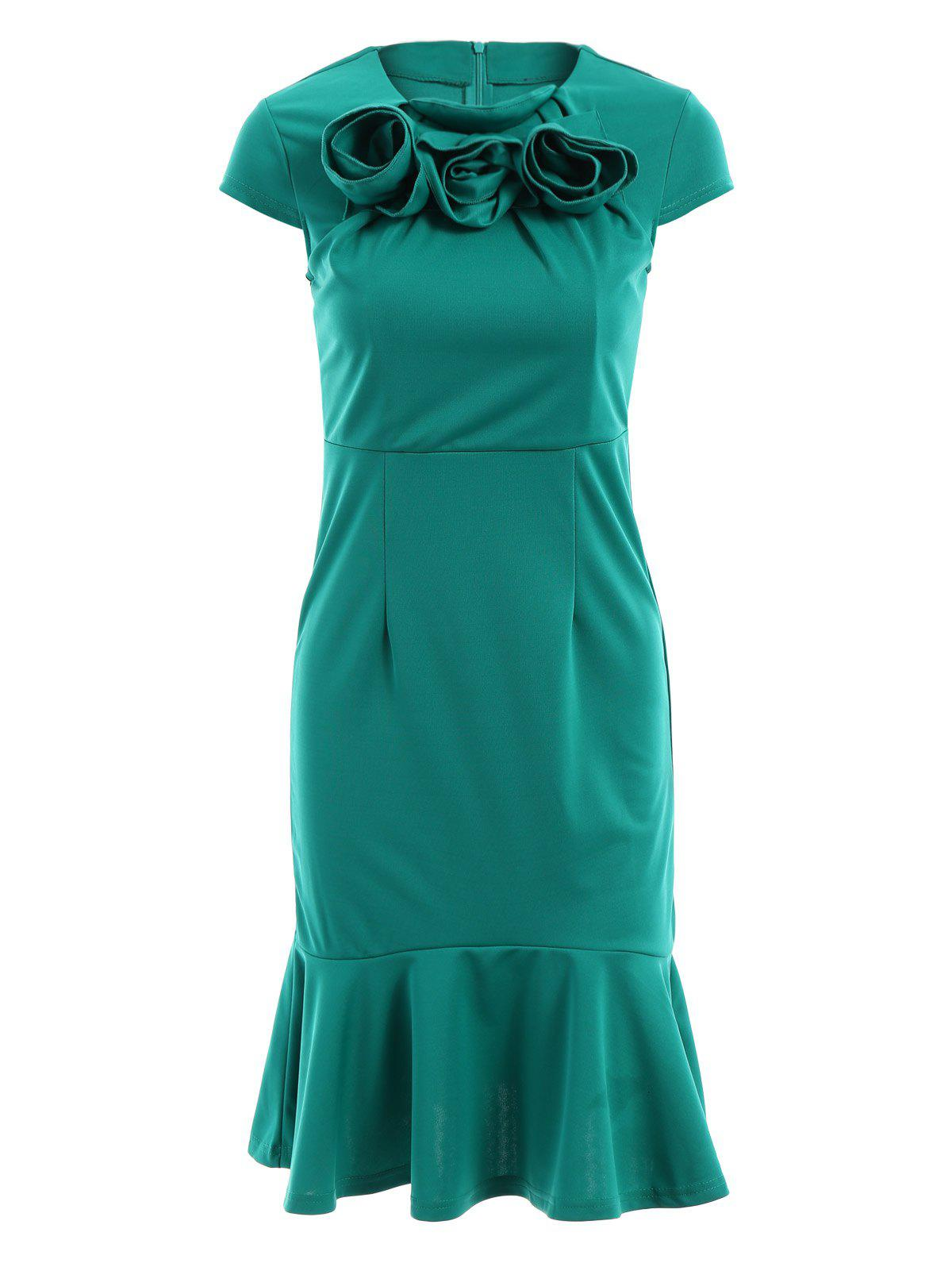 Stylish Round Neck Short Sleeve Solid Color Stereo Flower Design Women's Mermaid Dress - GREEN L