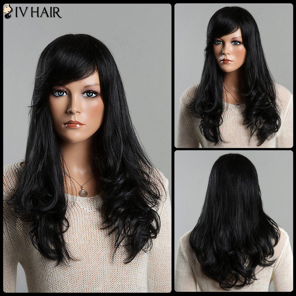 Women's Stunning Long Slightly Curled Side Bang Siv Human Hair Wig - JET BLACK