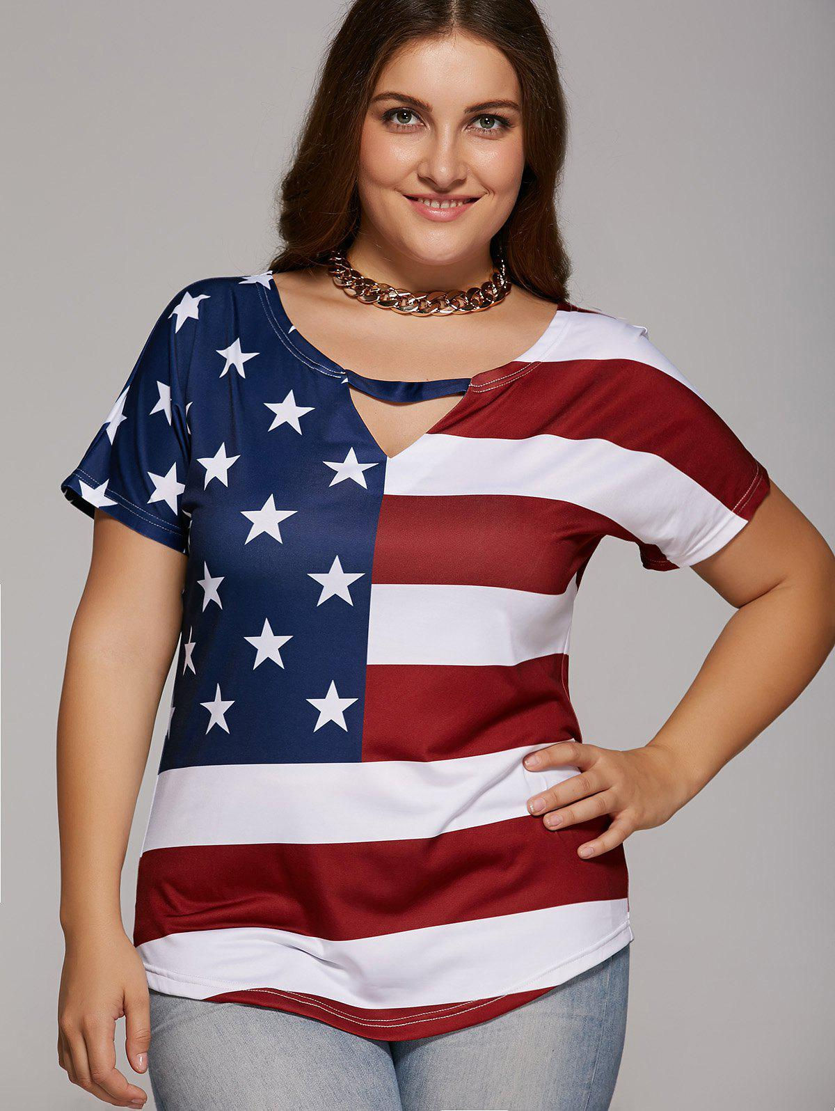 Oversized Cut Out American Flag Print T-Shirt - RED/WHITE/BLUE 5XL