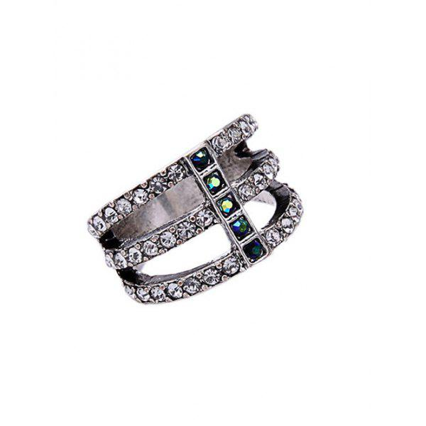 Silver Caged Rhinestone Ring - SILVER