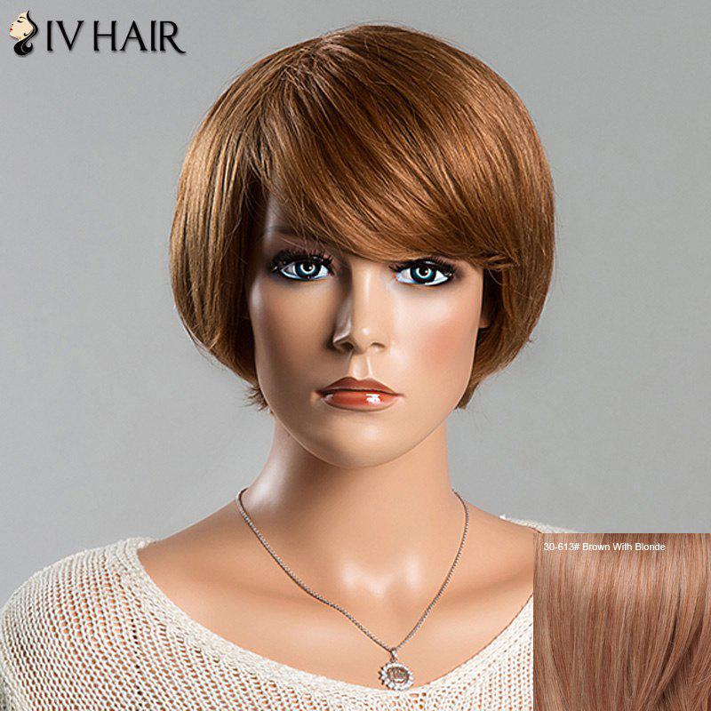 Women's Short Straight Spiffy Side Bang Siv Human Hair Wig - BROWN/BLONDE