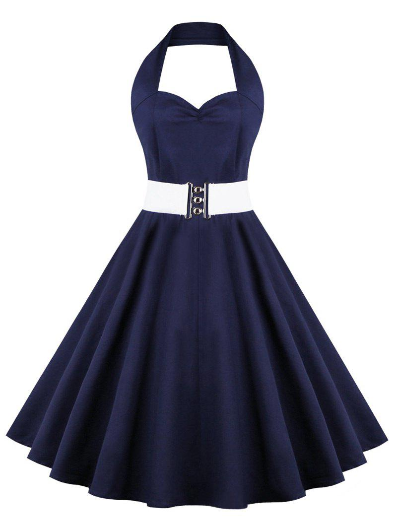Retro Halter Sweetheart Neck Ball Party Skater Dress retro sweetheart neck pure color button pleated skater dress