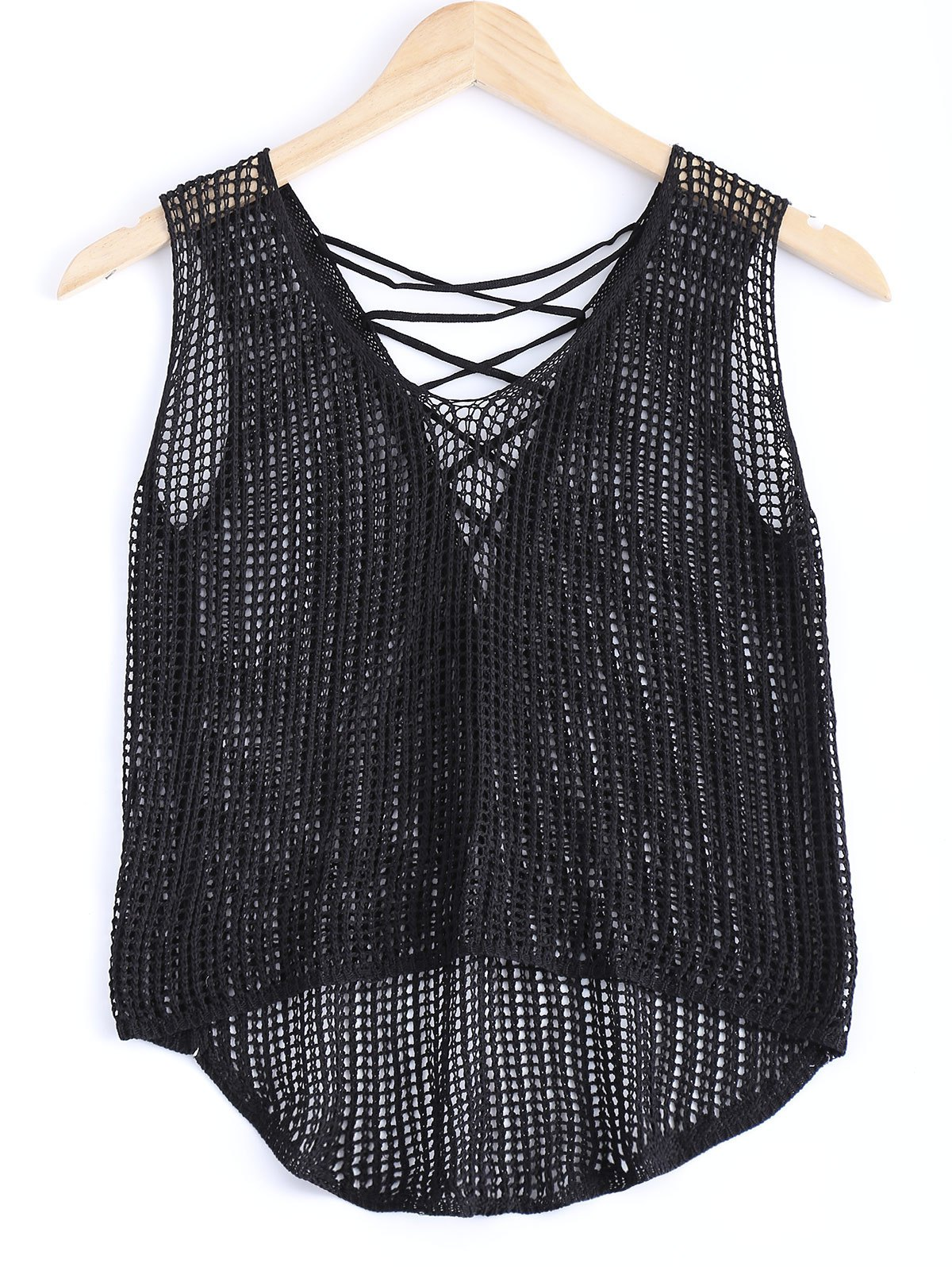 Sweet Asymmetric Crochet Lace Up See-Through Knitted Tank Top - BLACK ONE SIZE