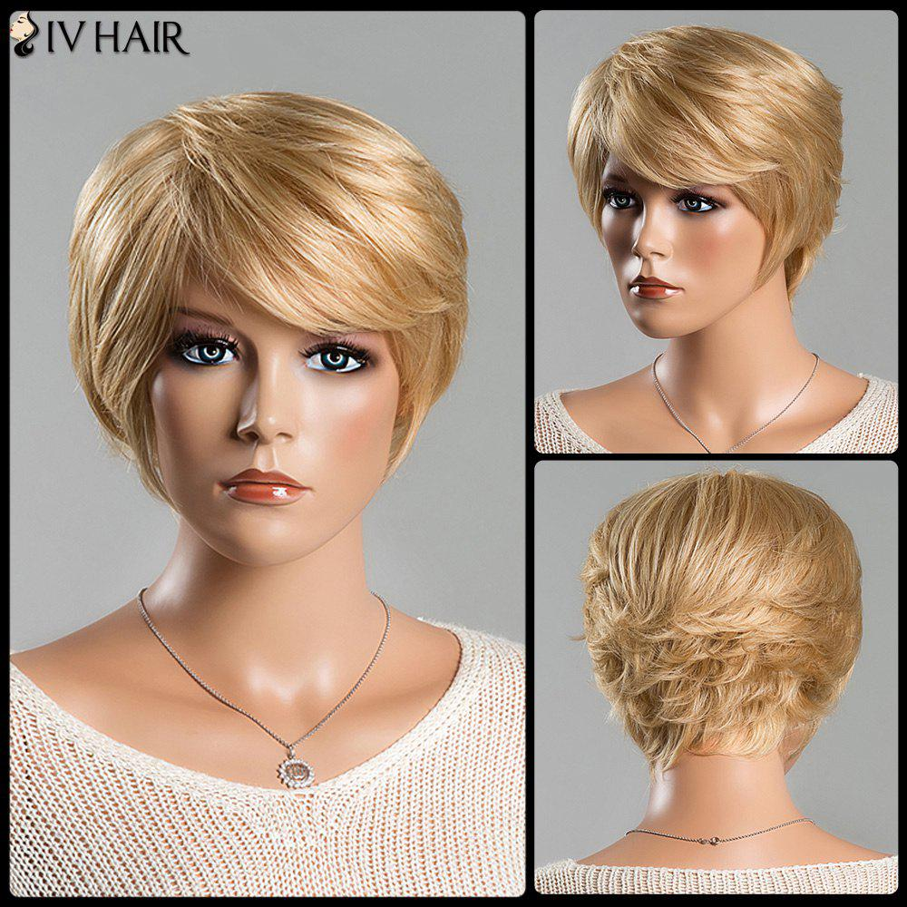 Women's Short Fluffy Straight Tail Upwards Spiffy Side Bang Siv Human Hair Wig -  BLONDE