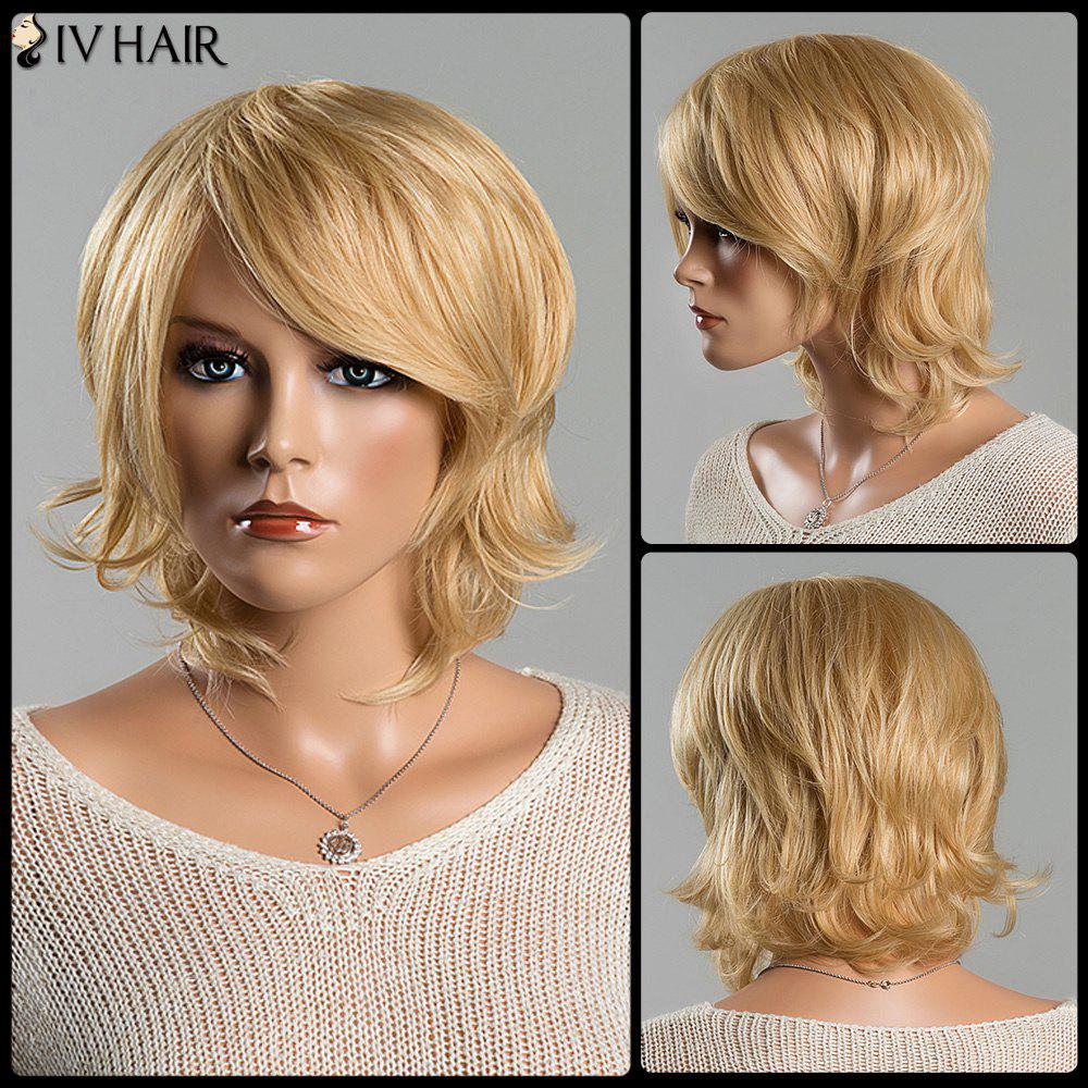 Women's Short Fluffy Tail Upwards Fashion Side Bang Siv Human Hair Wig - BLONDE