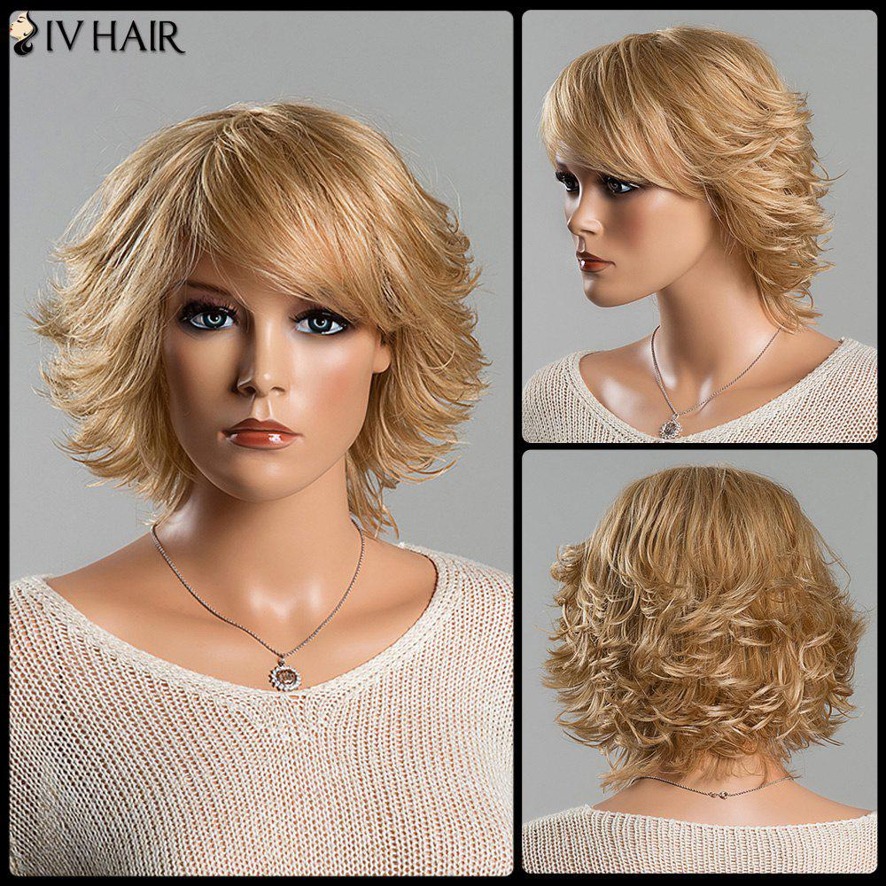 Short Fluffy Tail Upwards Vogue Women's Side Bang Siv Human Hair Wig - BLONDE