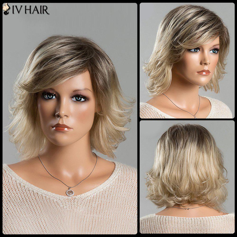 Short Fluffy Tail Upwards Fashion Mixed Color Women's Side Bang Siv Human Hair Wig - COLORMIX