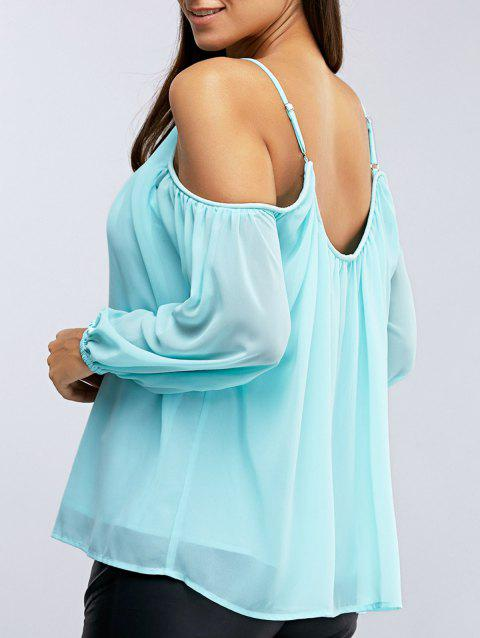 Fashionable Women's Off-The Shoulder 3/4 Sleeve  Condole Blouse - LAKE BLUE S