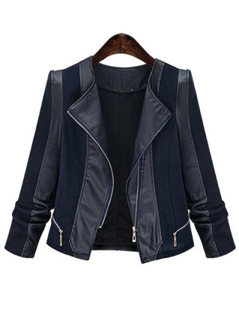 Plus Size Chic Zipped Leather Patchwork Jacket For Women - BLUE 4XL