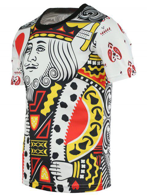 Chic Poker King Print Round Neck Short Sleeves Tee For Men - COLORMIX S